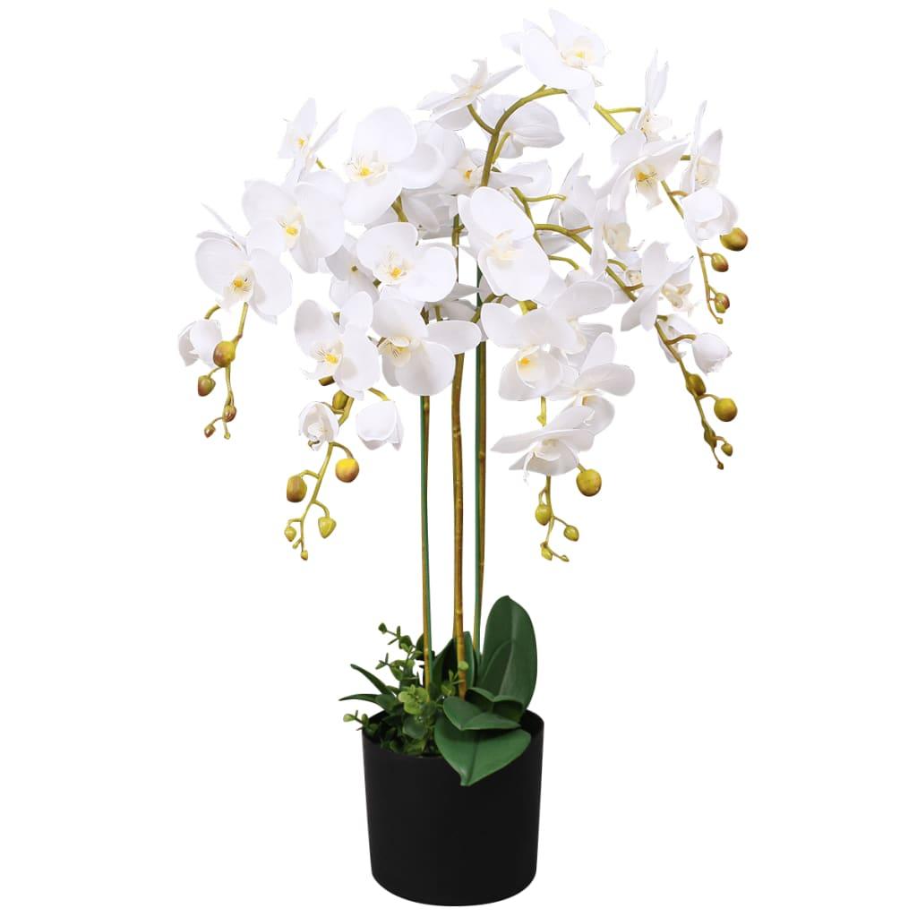 vidaXL Plante artificielle avec pot Orchidée 75 cm Blanc