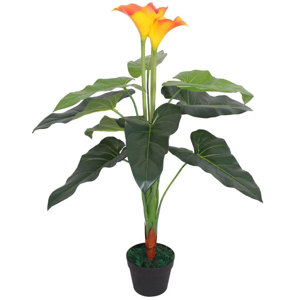 vidaXL Plante artificielle avec pot Lis Calla 85 cm Rouge et Jaune