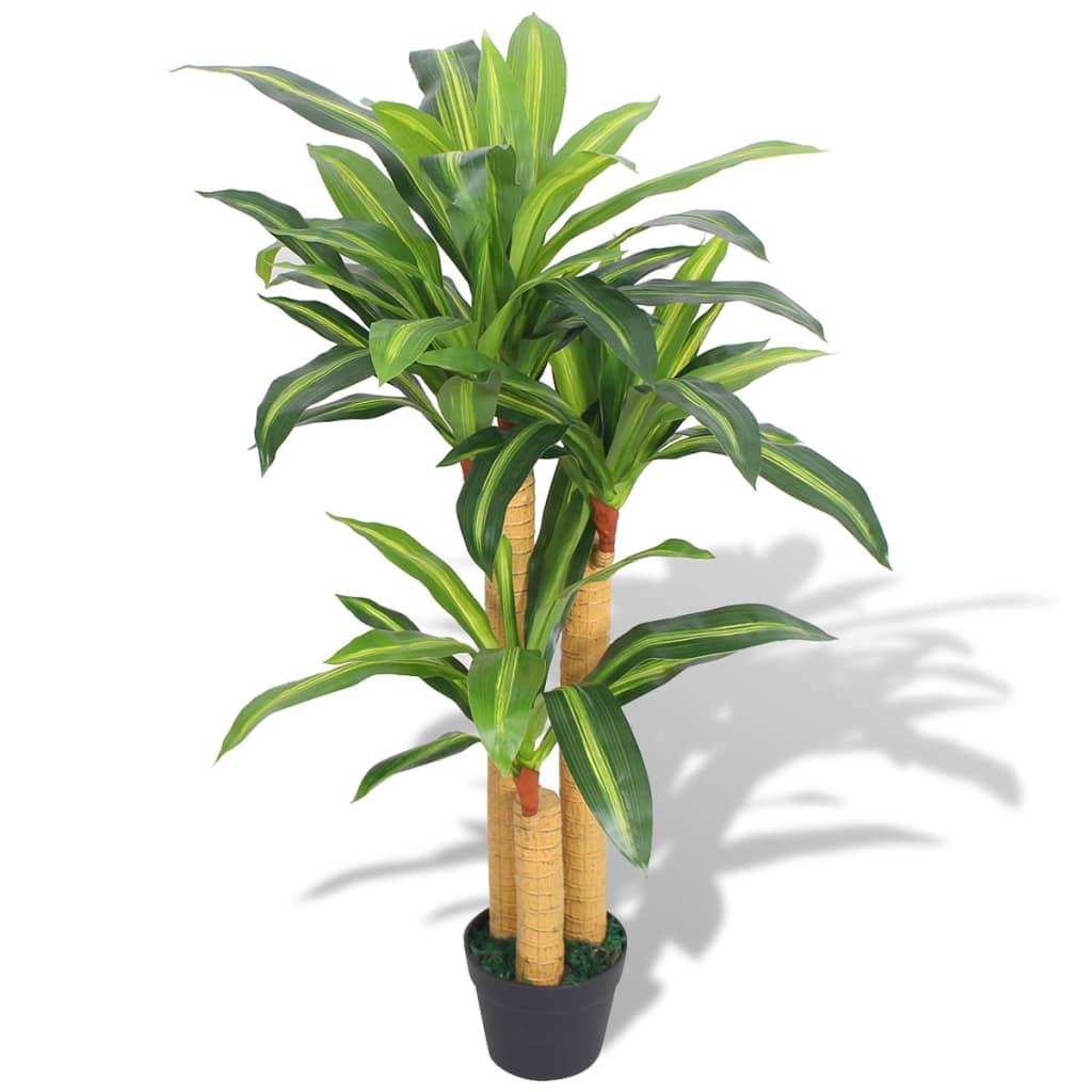 vidaXL Plante artificielle avec pot Dracaena 100 cm Vert