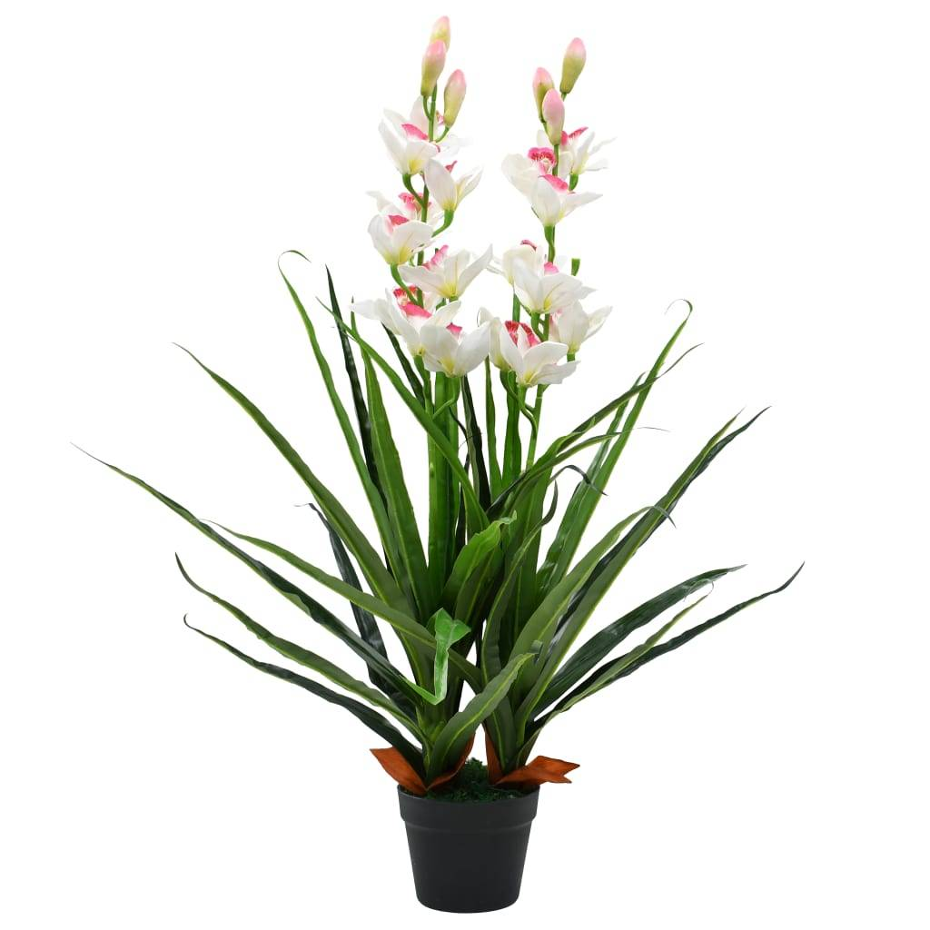 vidaXL Plante artificielle Orchidée Cymbidium avec pot 100 cm Vert