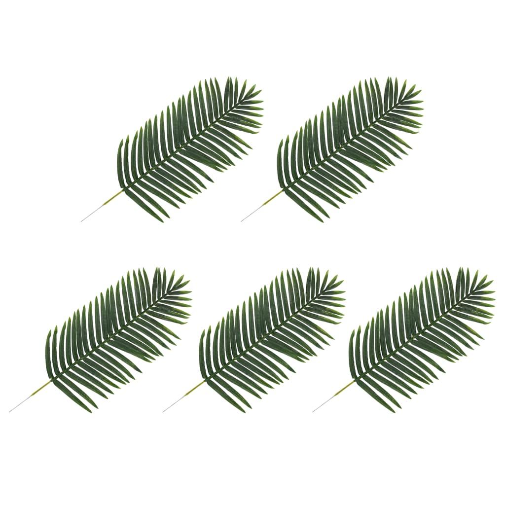 vidaXL 5 pcs Feuilles artificielles de palmier Vert 125 cm