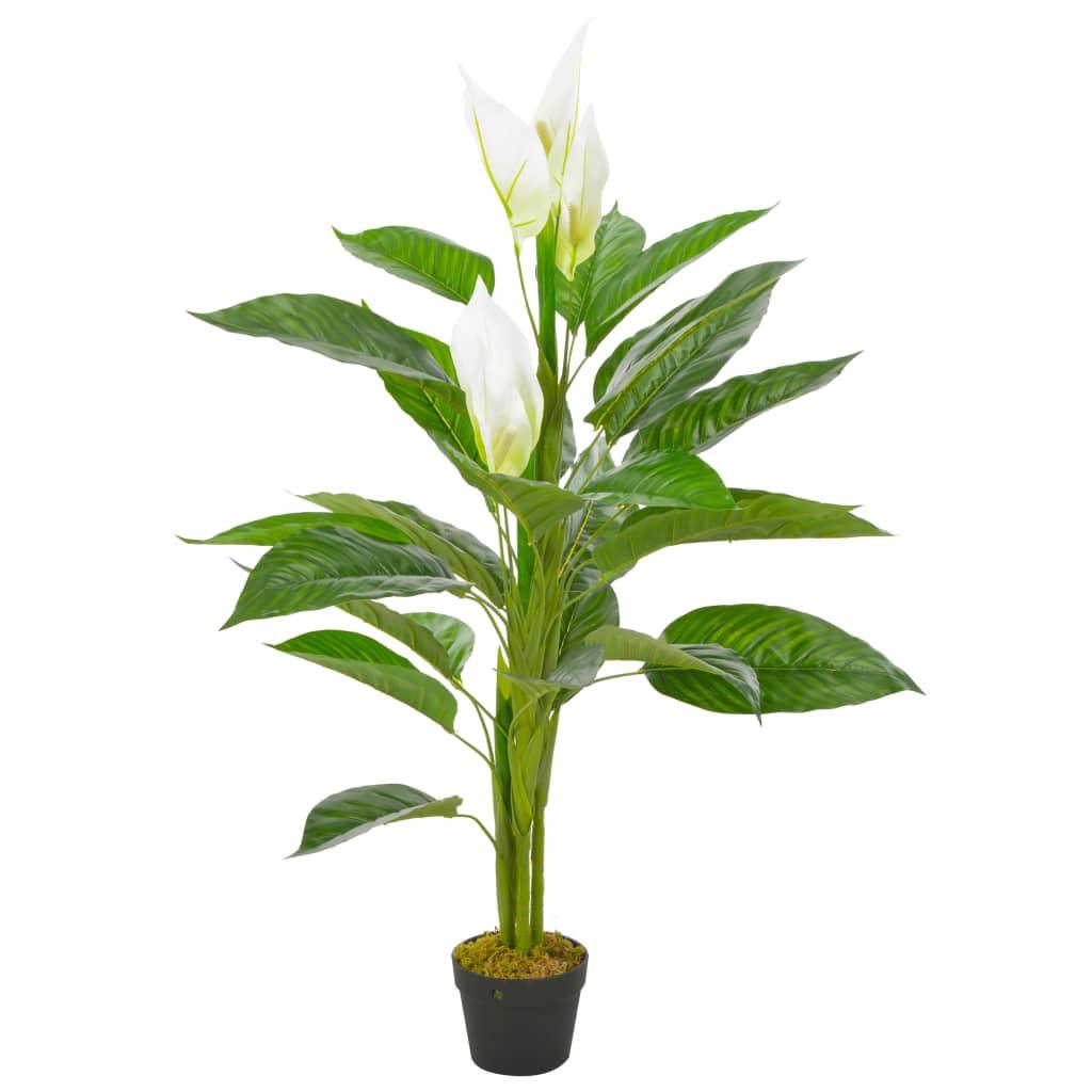 vidaXL Plante artificielle Anthurium avec pot Blanc 115 cm