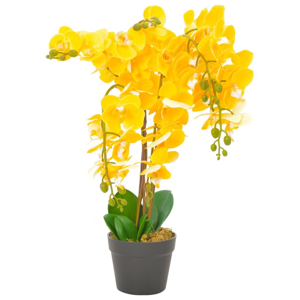 vidaXL Plante artificielle avec pot Orchidée Jaune 60 cm
