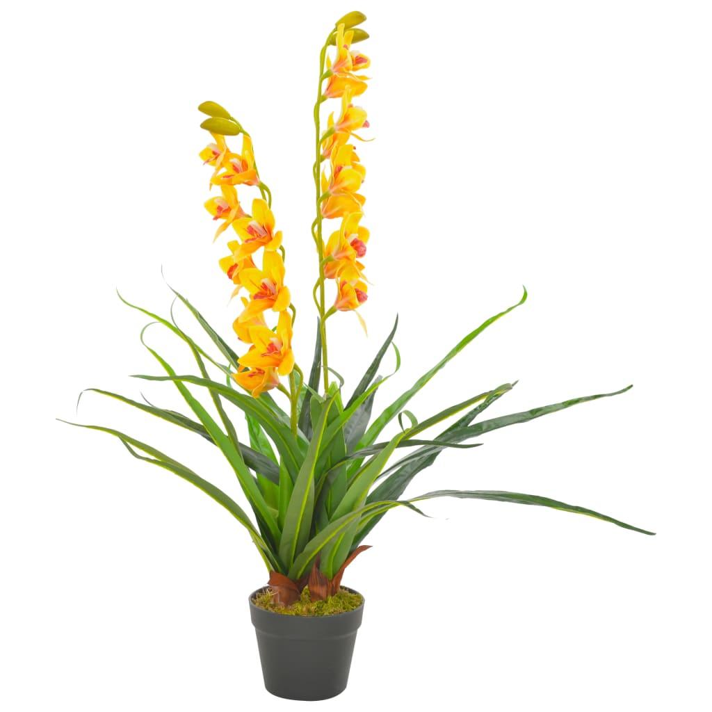 vidaXL Plante artificielle avec pot Orchidée Jaune 90 cm