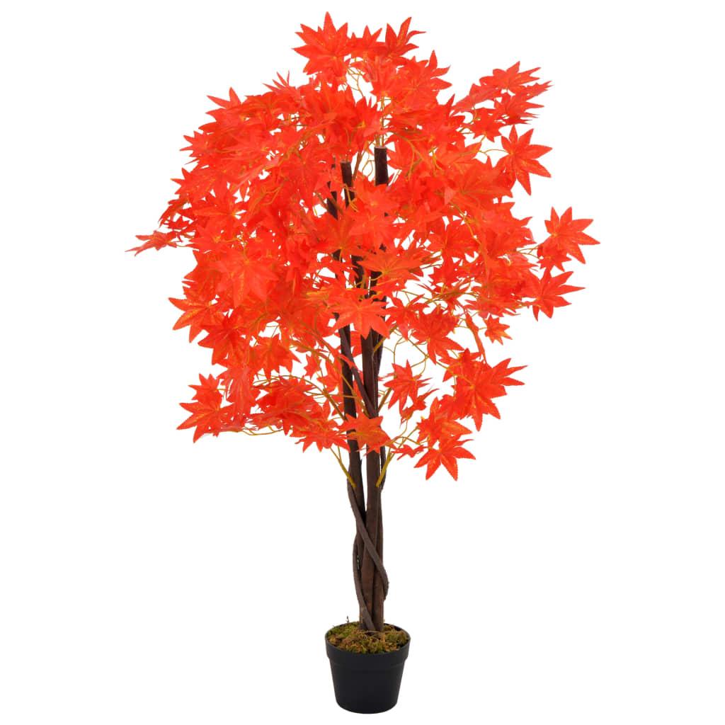 vidaXL Plante artificielle d'érable avec pot Rouge 120 cm