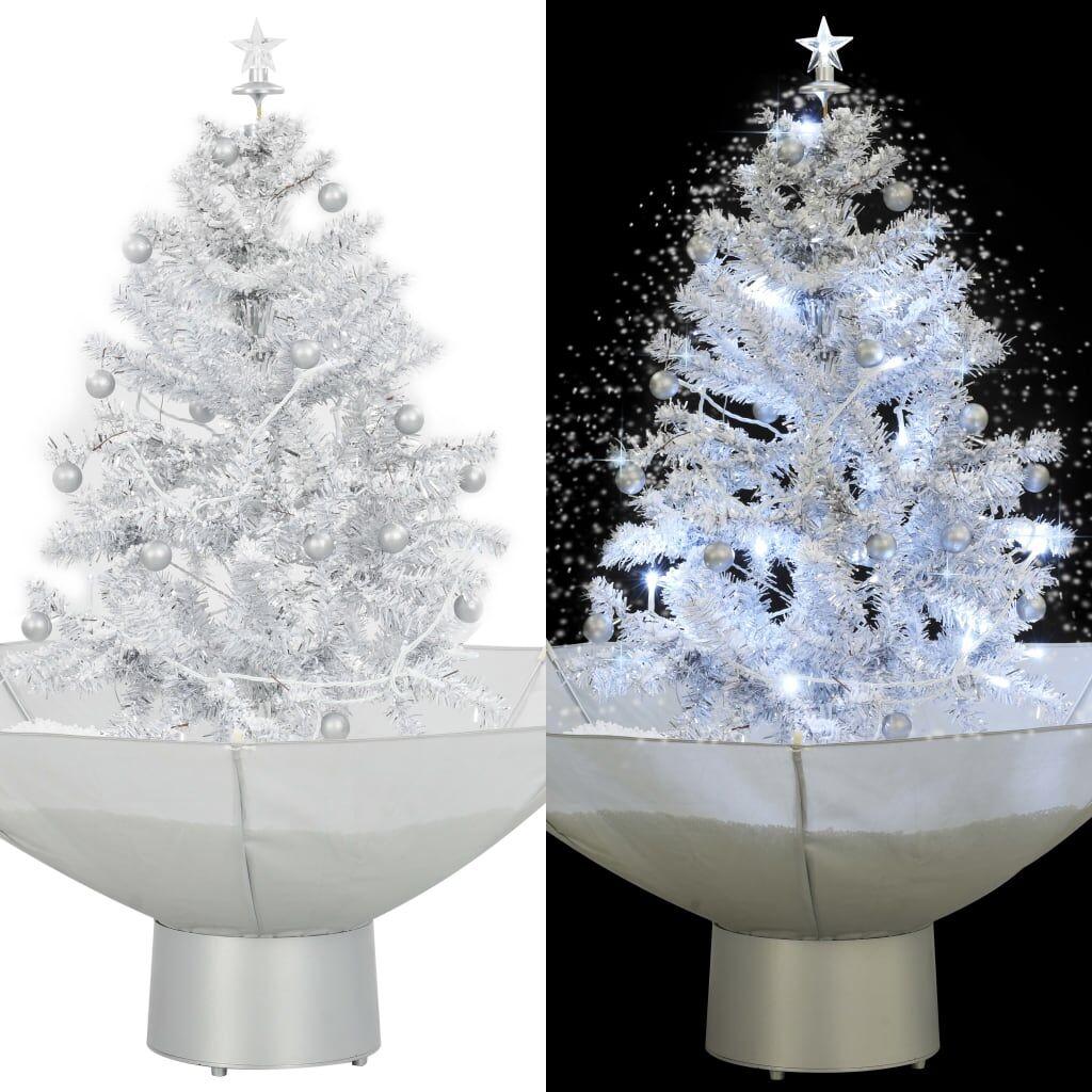 vidaXL Arbre de Noël neigeux avec base de parapluie Blanc 75 cm