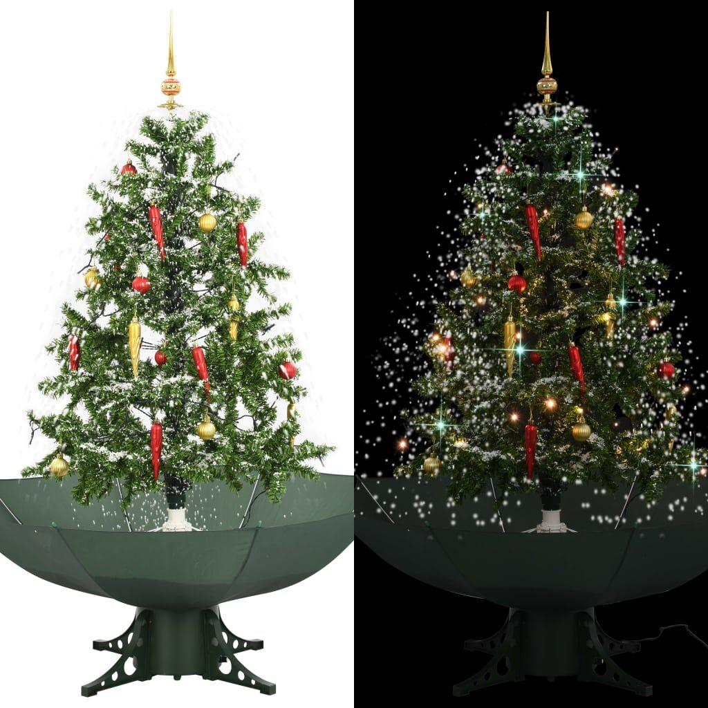 vidaXL Arbre de Noël neigeux avec base de parapluie Vert 140 cm