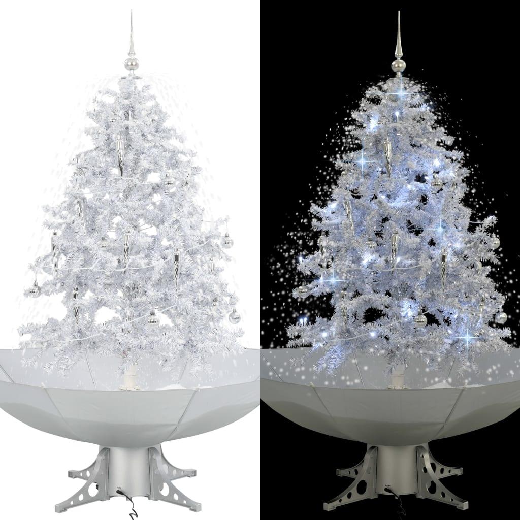 vidaXL Arbre de Noël neigeux avec base de parapluie Blanc 140 cm