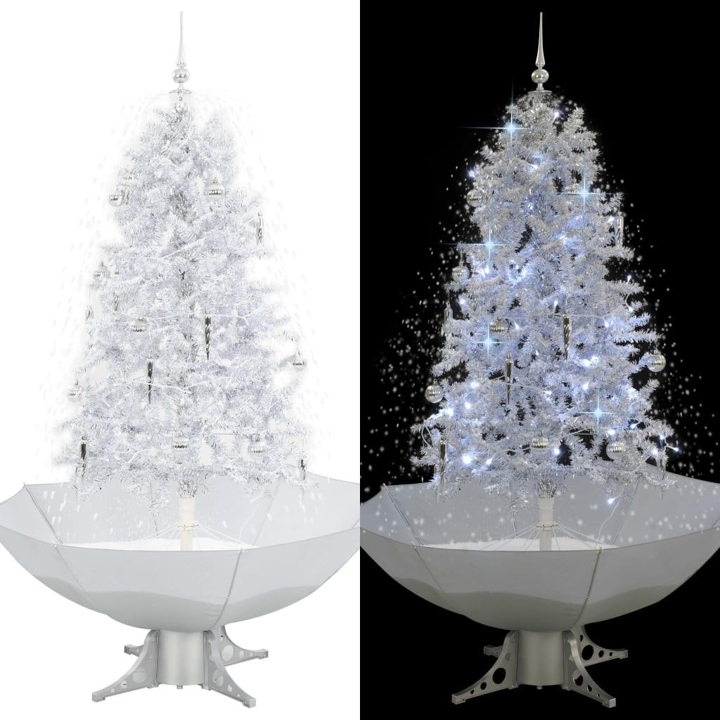 vidaXL Arbre de Noël neigeux avec base de parapluie Blanc 170 cm