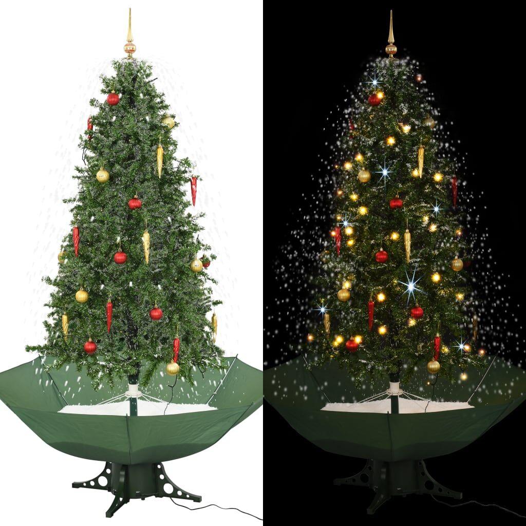 vidaXL Arbre de Noël neigeux avec base de parapluie Vert 190 cm