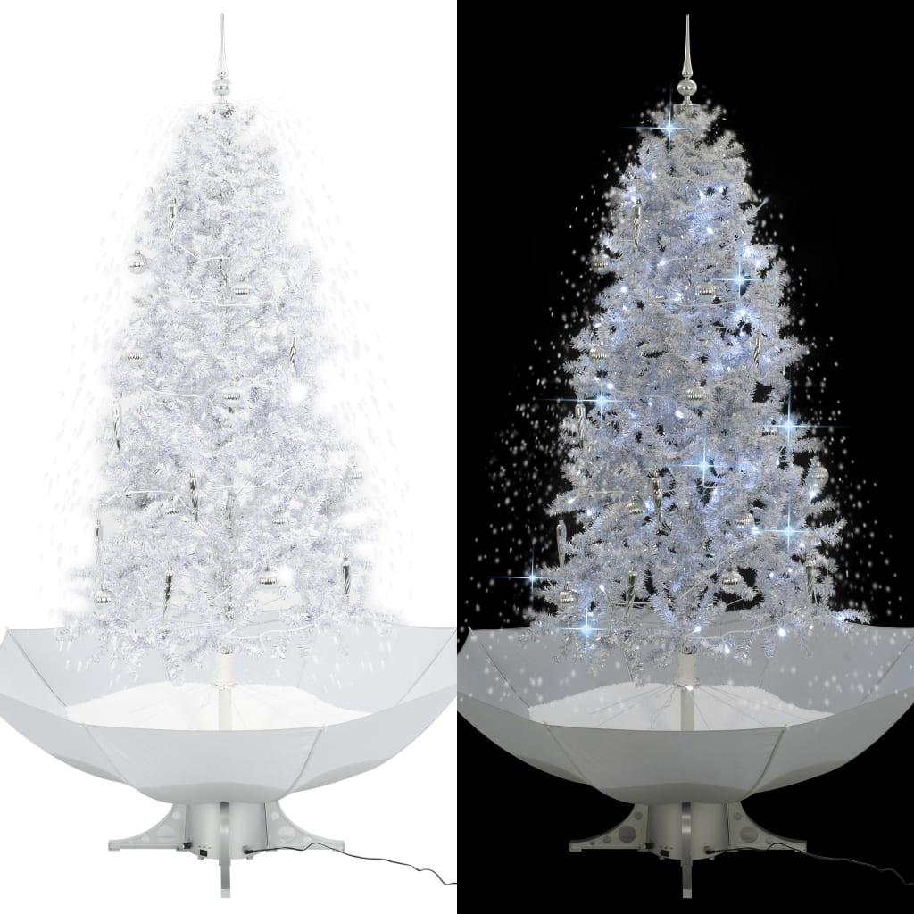 vidaXL Arbre de Noël neigeux avec base de parapluie Blanc 190 cm