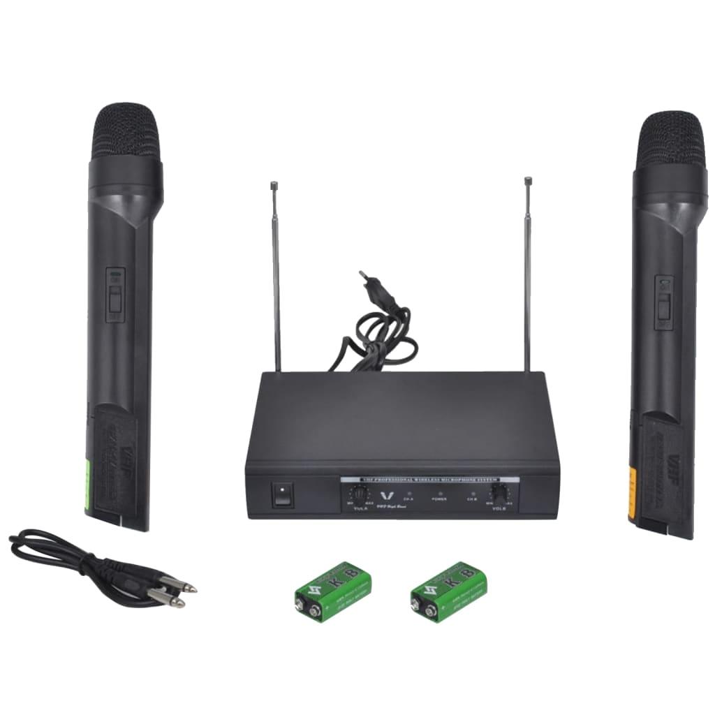 vidaXL Récepteur avec 2 microphones sans fil VHF