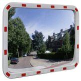 vidaXL Miroir de trafic convexe rectangulaire 60x80cm avec réflecteurs