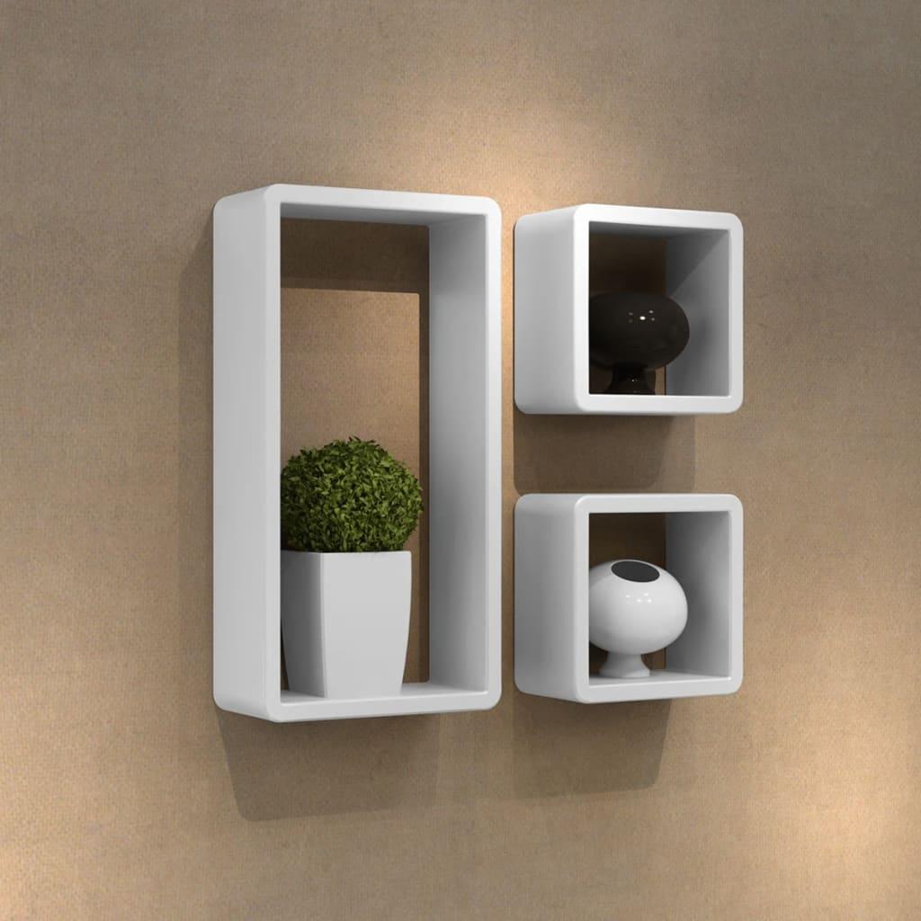 vidaXL Etagères Design Murale 3 Cubes blanc MDF 42 x 22 x 10
