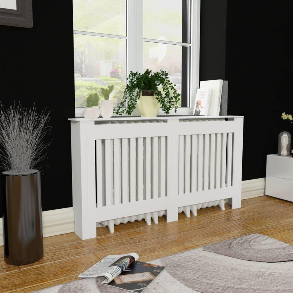 vidaXL Cache-radiateur 152 cm MDF Blanc