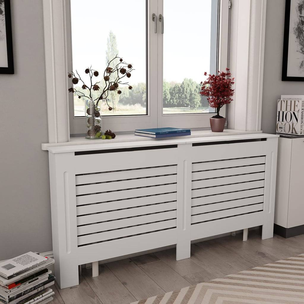 vidaXL Cache-radiateur Blanc 172x19x81,5 MDF
