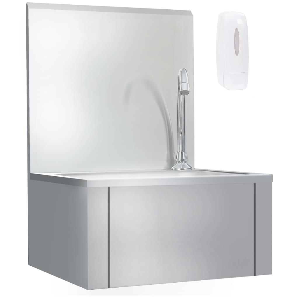 vidaXL Lavabo de lavage avec robinet et distributeur de savon Inox