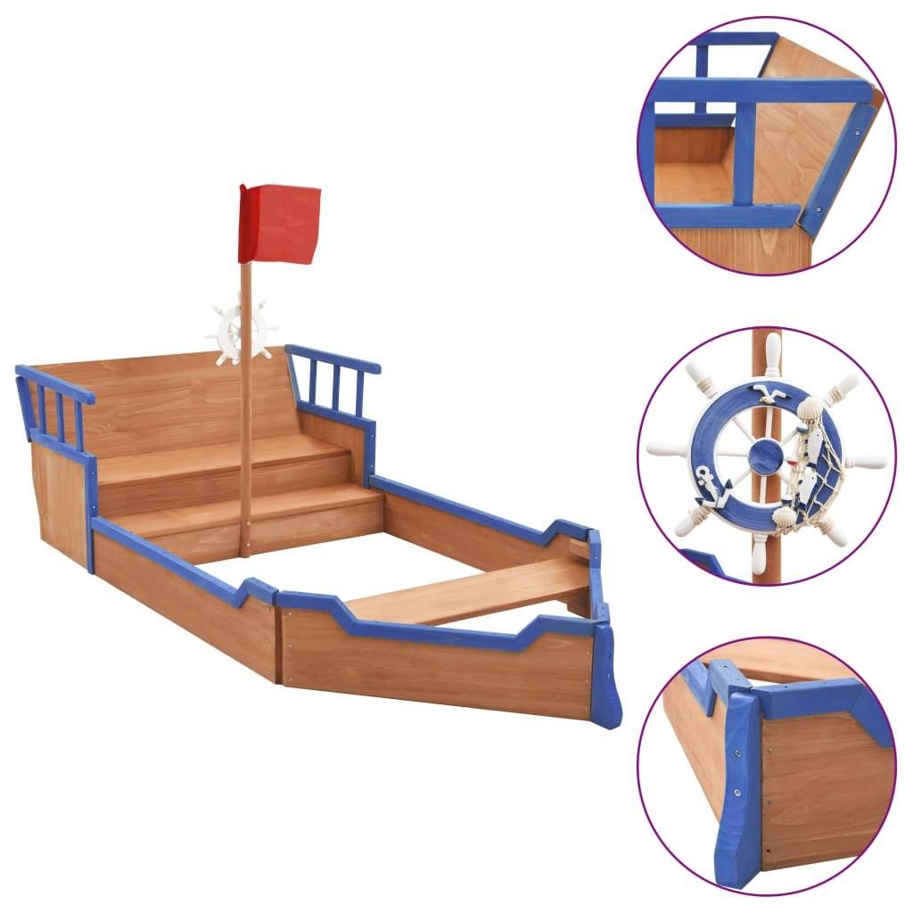 vidaXL Bac à sable bateau pirate Bois de sapin 190x94,5x136 cm