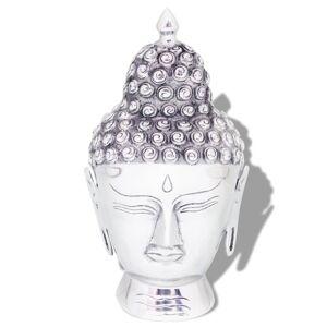 vidaXL Décoration murale en forme de tête de Bouddha Aluminium Argenté
