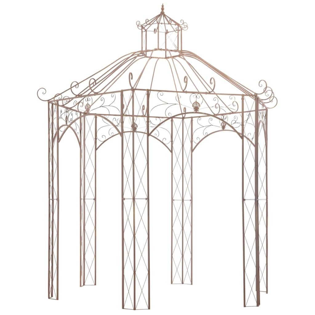 vidaXL Pavillon de jardin Marron antique 3 m Fer