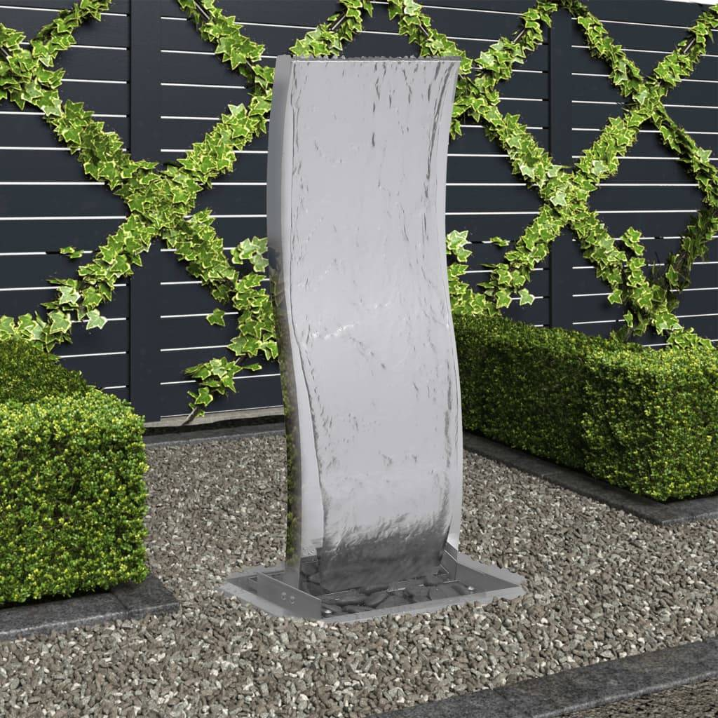 vidaXL Fontaine de jardin avec pompe Acier inoxydable 90 cm Courbé