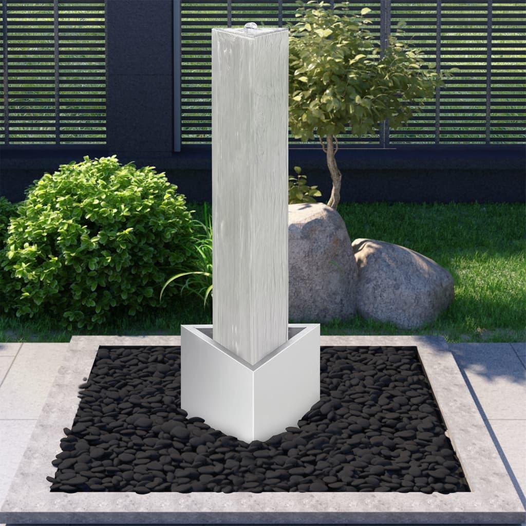vidaXL Fontaine de jardin Argenté 37,7x32,6x110 cm Acier inoxydable