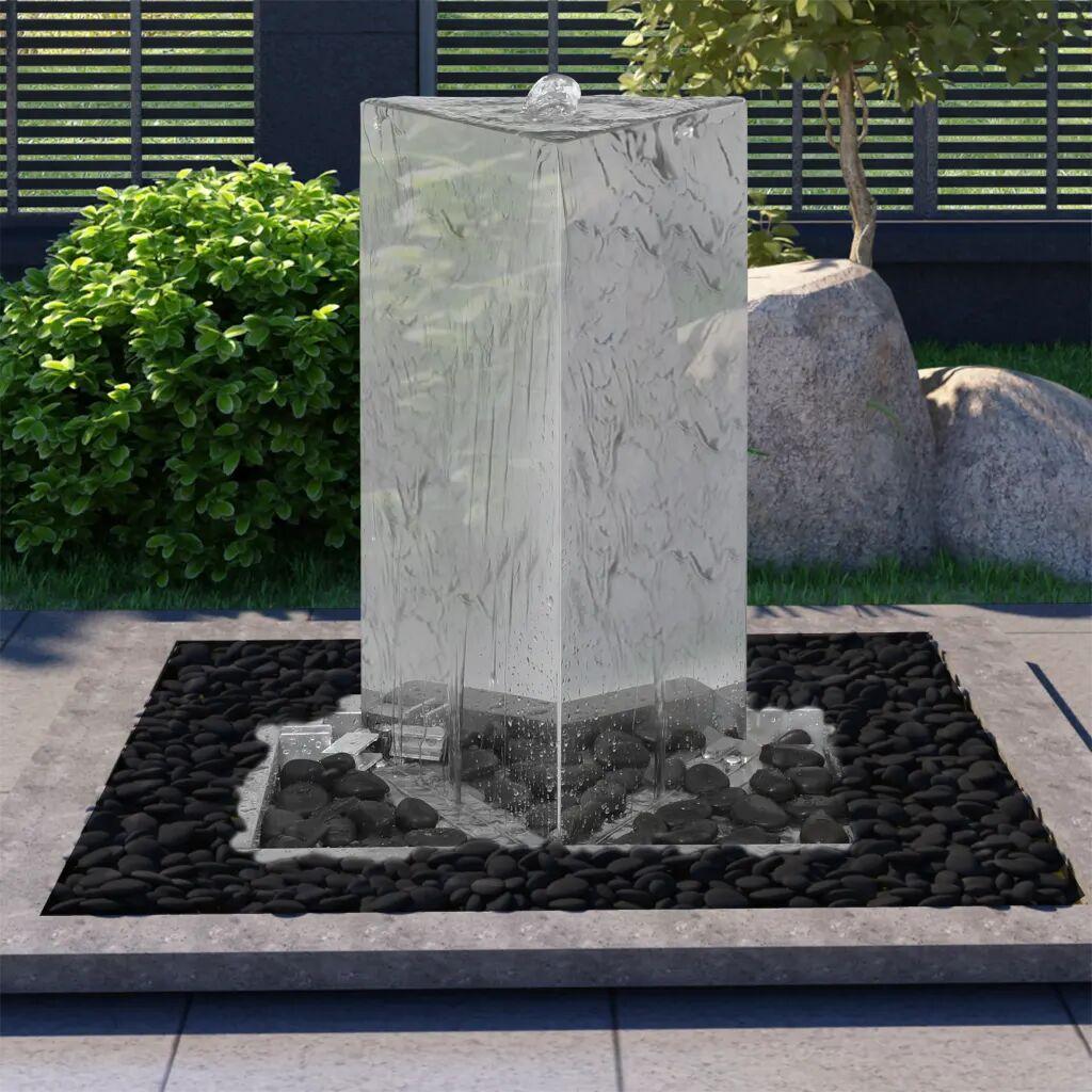 vidaXL Fontaine de jardin et pompe Acier inoxydable 76 cm Triangulaire