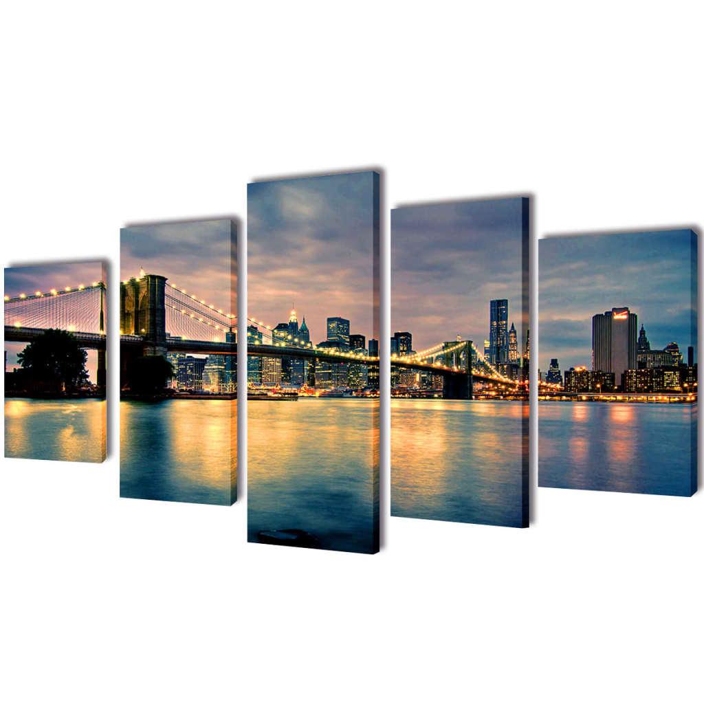 vidaXL Set de toiles murales imprimées Pont de Brooklin vu de la rivière