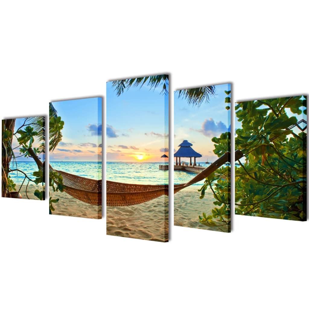 vidaXL Set de toiles murales imprimées Plage avec hamac 200 x 100 cm