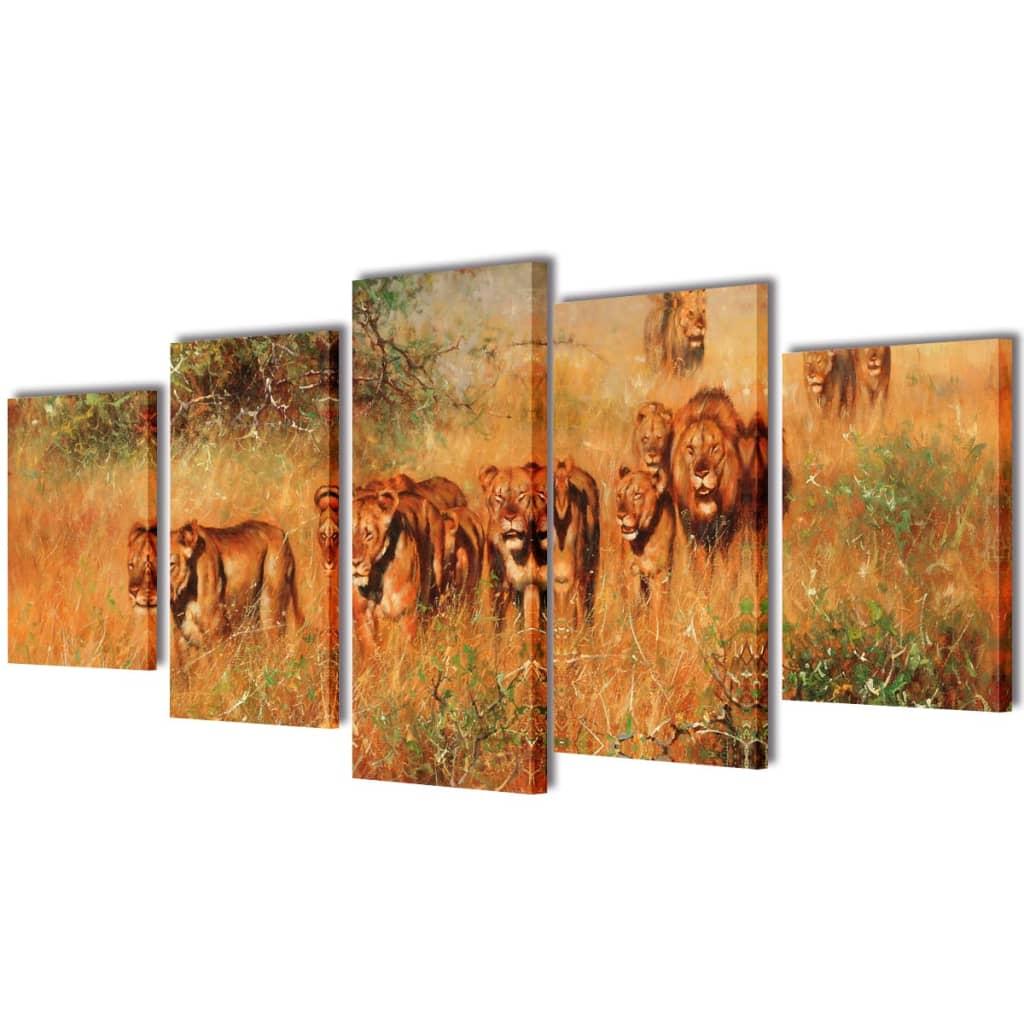 vidaXL Set de toiles murales imprimées Lions 200 x 100 cm