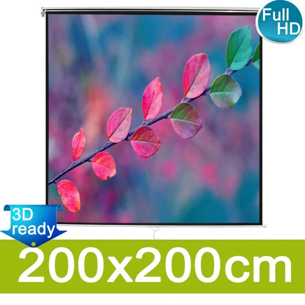 vidaXL Écran de projection manuel 200 x 200 cm Blanc