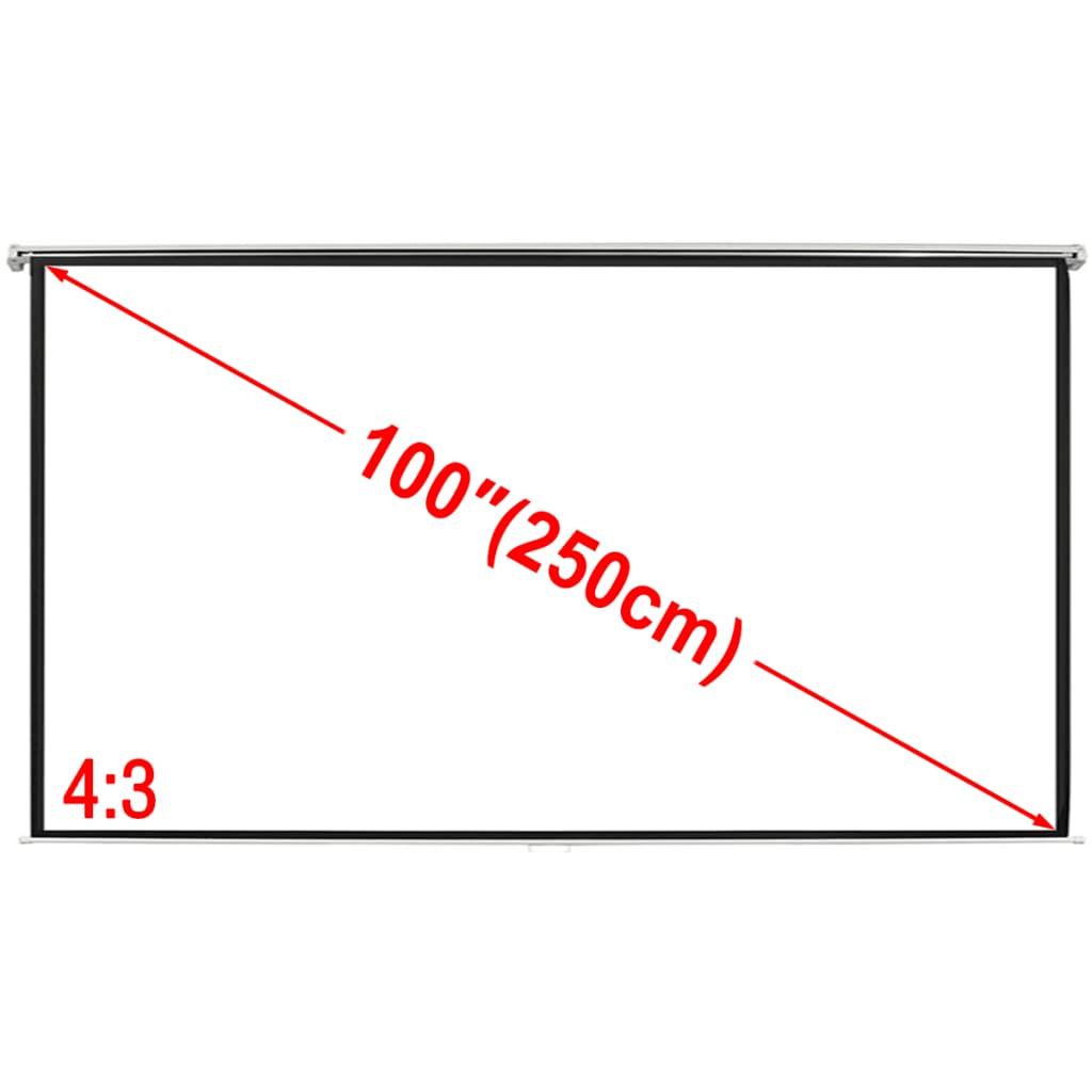 vidaXL Ecran de projection manuel 200 x 153 cm 4:3