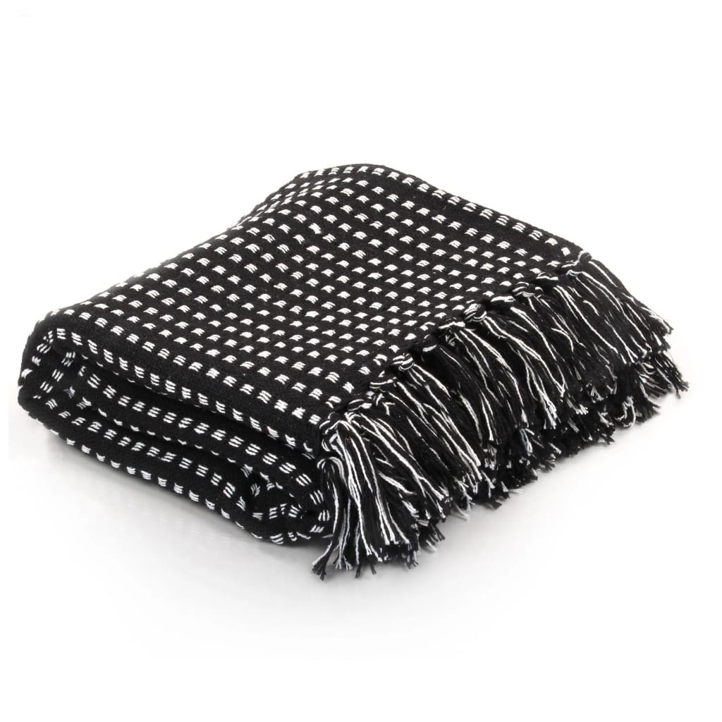 vidaXL Couverture coton à carrés 220 x 250 cm Noir