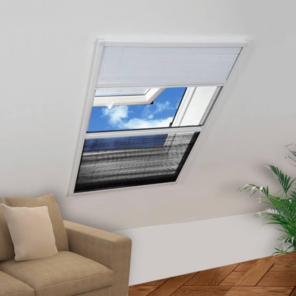 vidaXL Moustiquaire plissée pour fenêtre 160 x 110 cm avec store occultant