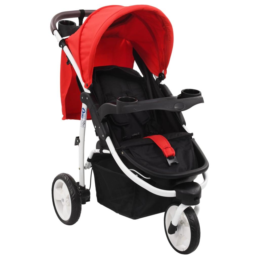 vidaXL Poussette bébé à 3 roues Rouge et noir