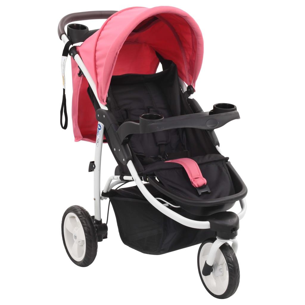 vidaXL Poussette bébé à 3 roues Rose et noir
