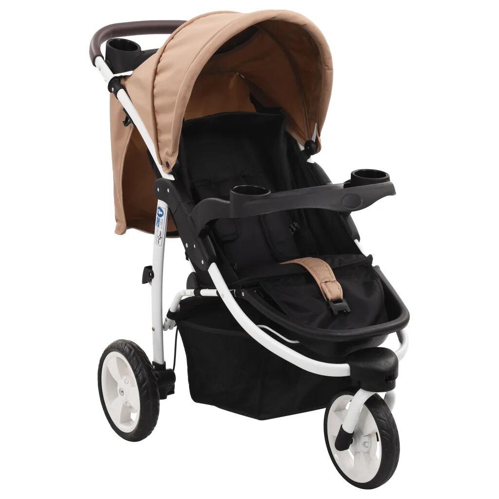 vidaXL Poussette bébé à 3 roues Taupe et noir