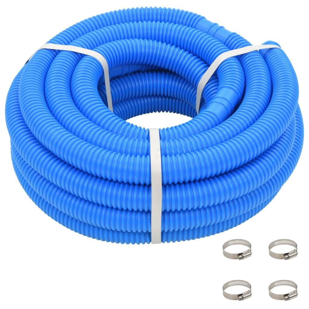 vidaXL Tuyau de piscine avec colliers de serrage Bleu 38 mm 12 m