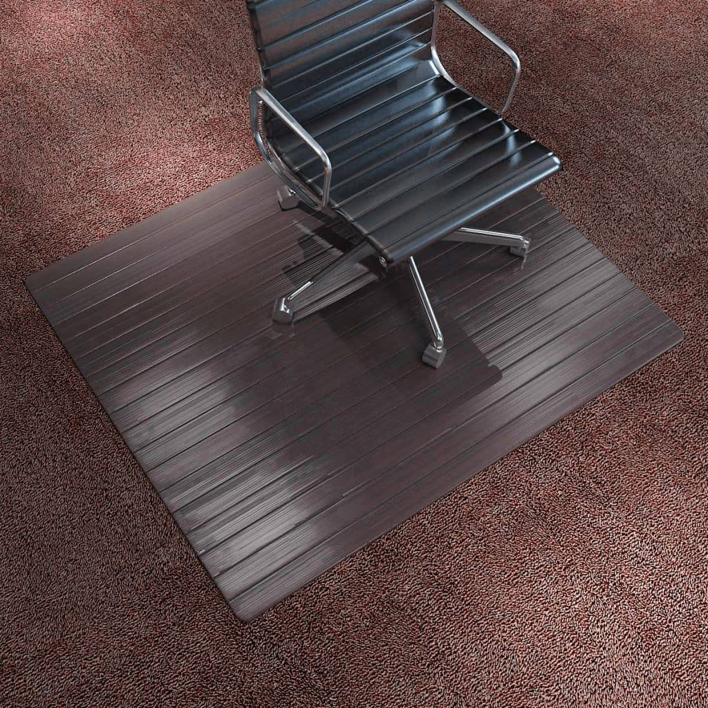 vidaXL Tapis de chaise / plancher Bambou Marron 110 x 130 cm