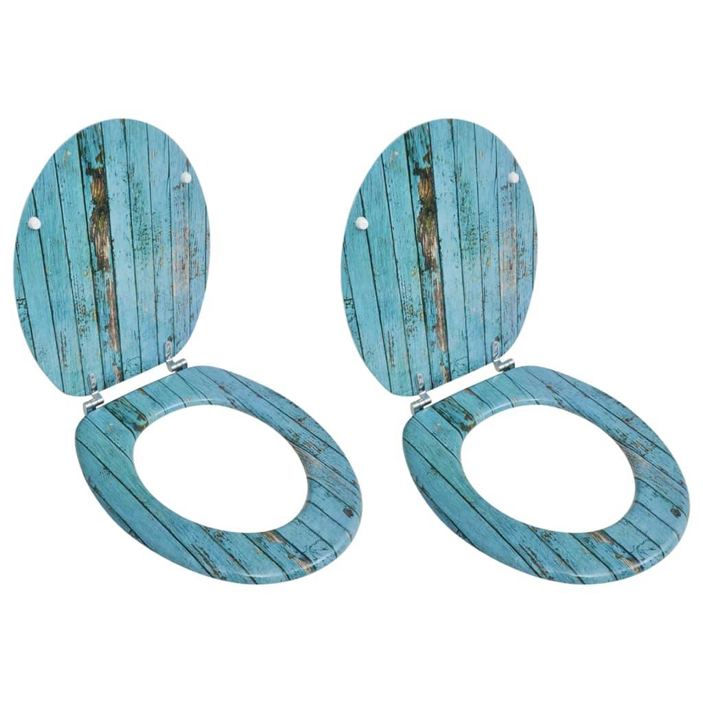 vidaXL Sièges de toilette avec couvercles 2 pcs MDF Vieux bois