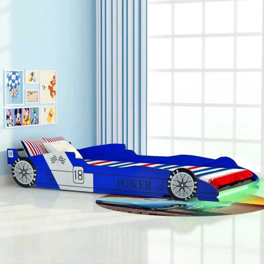 vidaXL Lit voiture de course pour enfants avec LED 90 x 200 cm Bleu