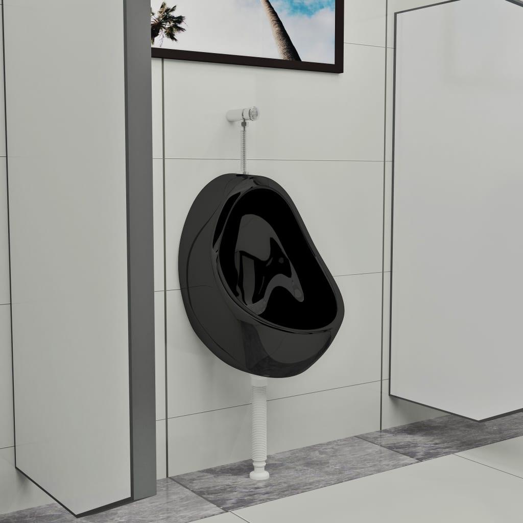 vidaXL Urinoir suspendu avec valve de chasse d'eau Céramique Noir