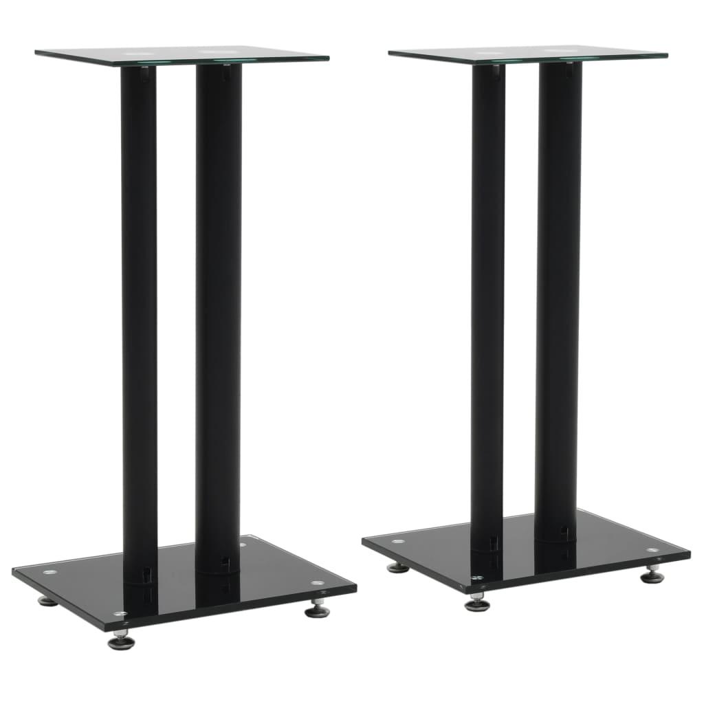vidaXL Support haut-parleur 2pc Verre trempé Design 2 colonnes Noir
