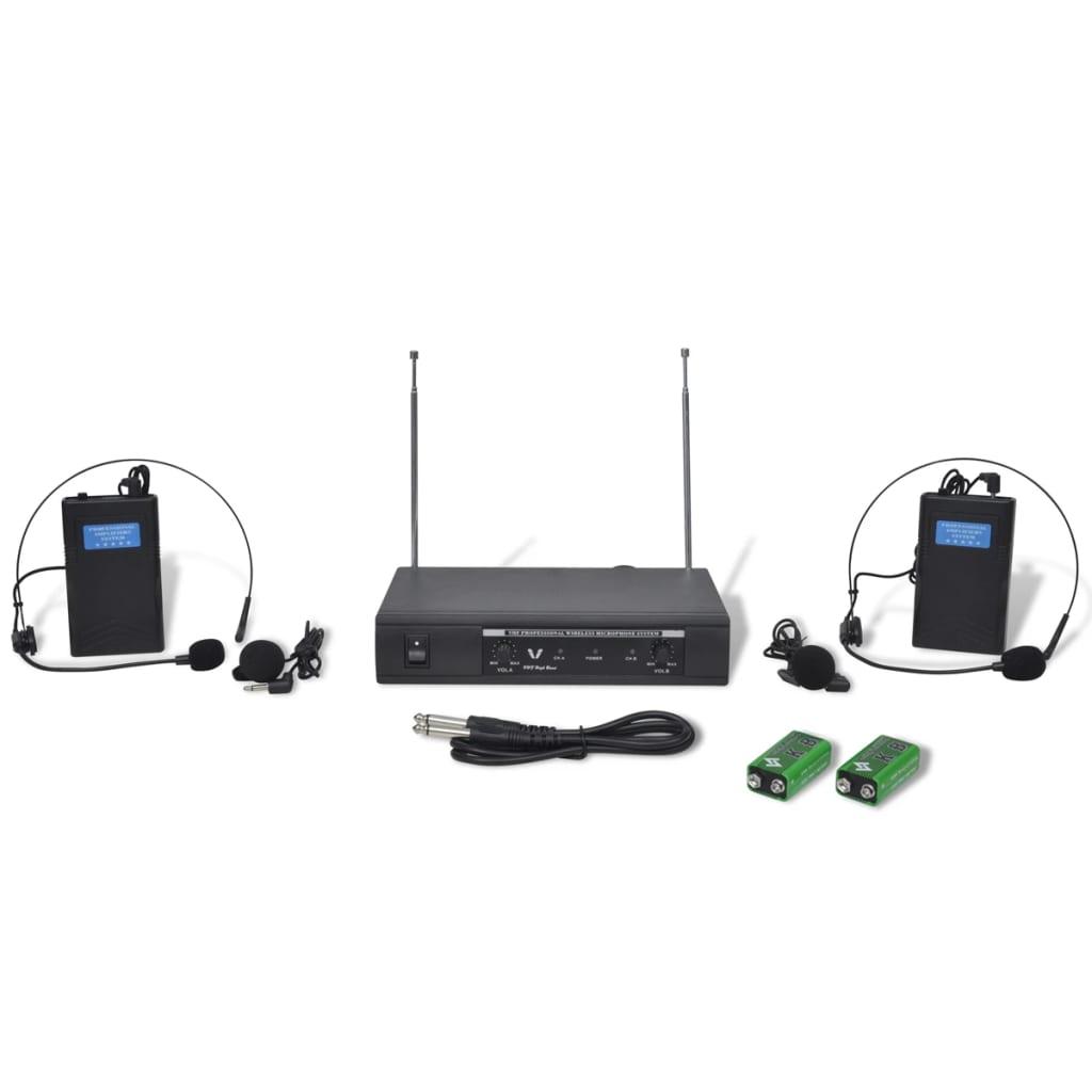 vidaXL Récepteur avec 2 casques VHF sans fil