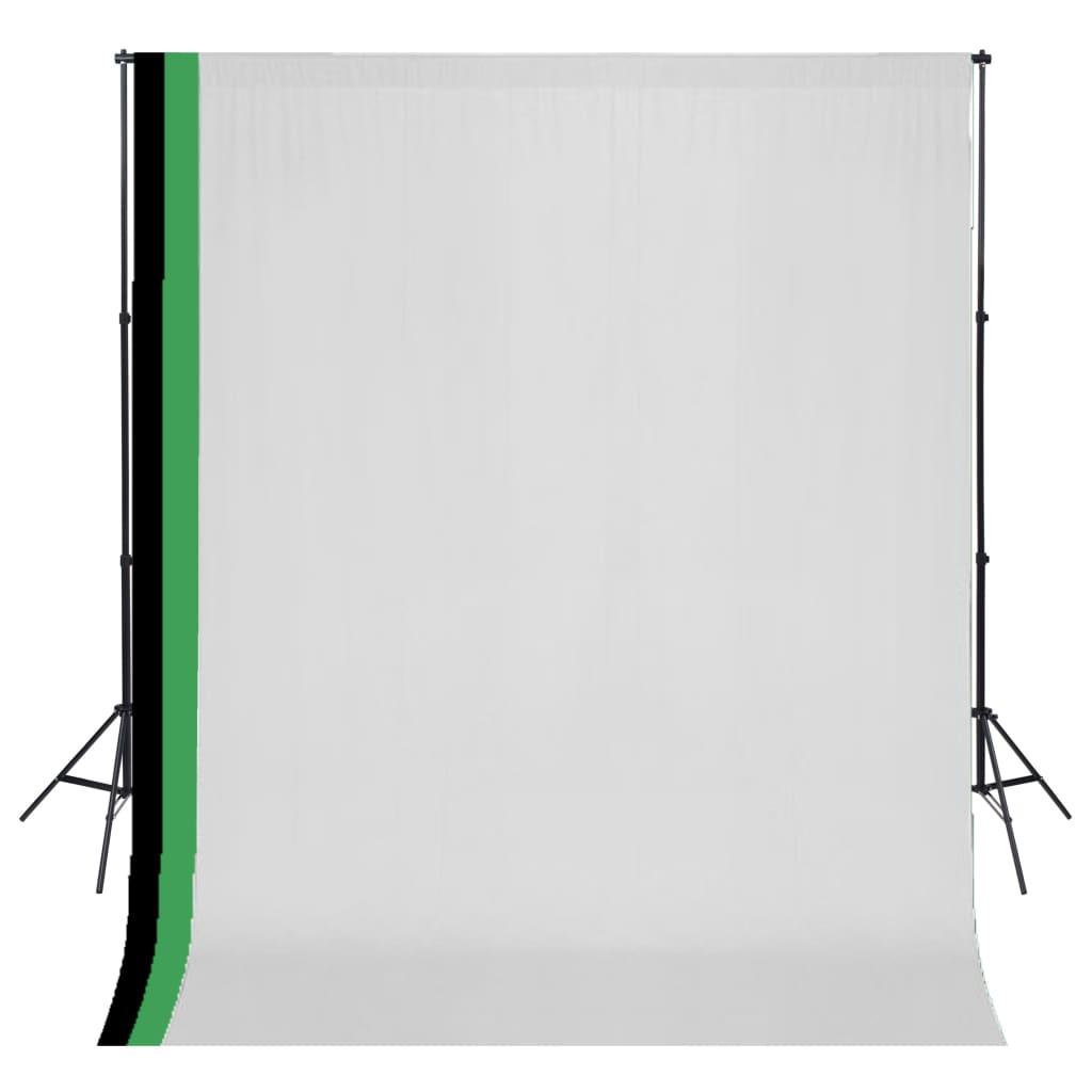 vidaXL Kit de studio photo et 3 toiles de fond réglables Coton 3x3 m