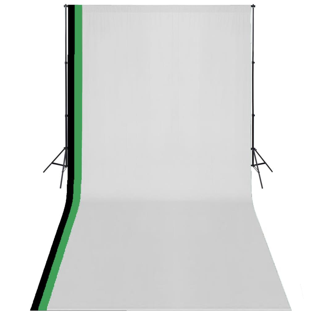 vidaXL Kit de studio photo et 3 toiles de fond réglables Coton 3x6 m