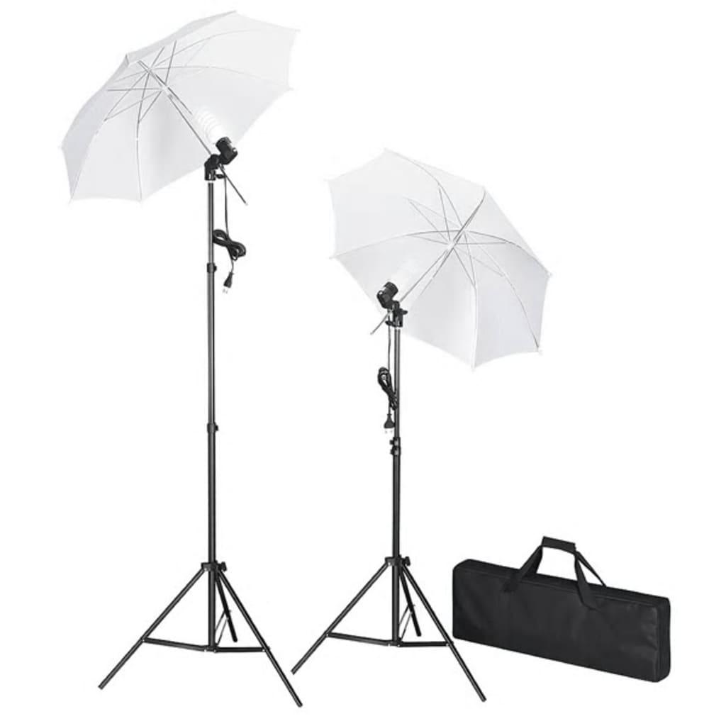 vidaXL Kit de studio photo avec lampes pieds et parapluies