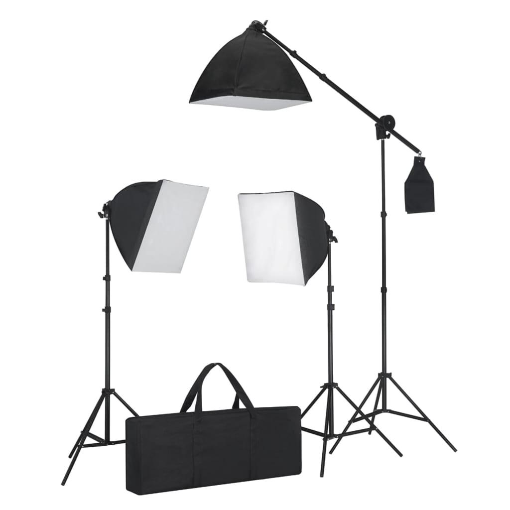 vidaXL Kit éclairage studio 3 lampes+sofbox+trépieds