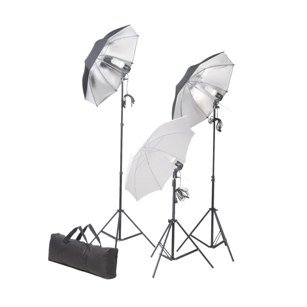 vidaXL Ensemble d'éclairage de studio: Trépieds et parapluies de 24 watts
