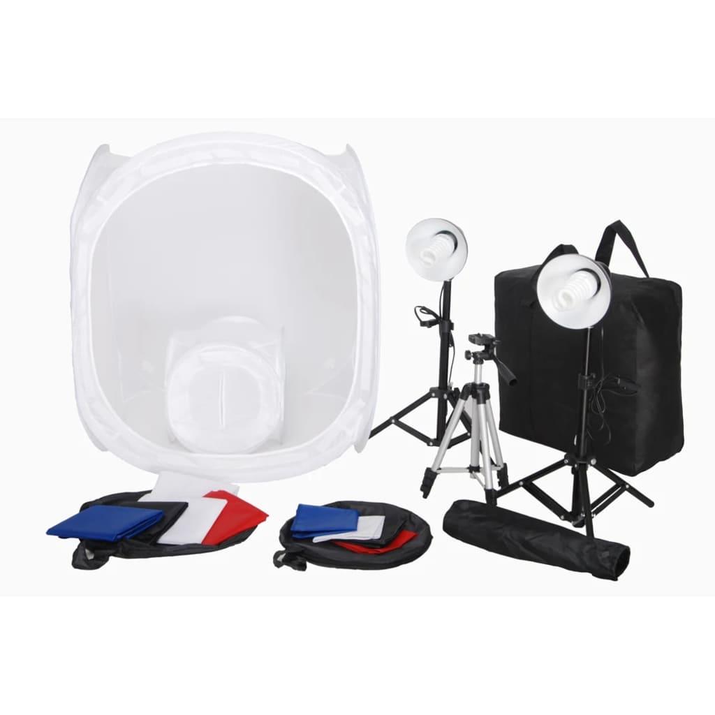 vidaXL Kit 2 Mini studio photo 2 lampes 45W 2 trépieds 8 fonds